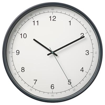TAGGAD Wall clock, white/grey, 38 cm