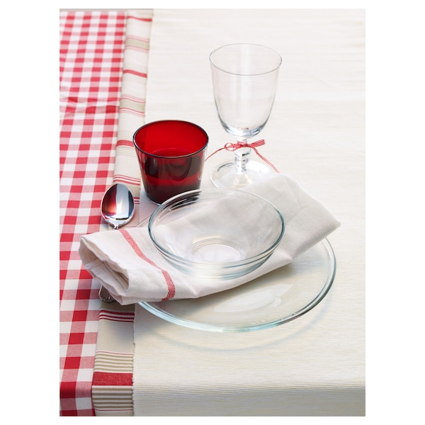 TEKLA Tea towel, white/red, 50x65 cm