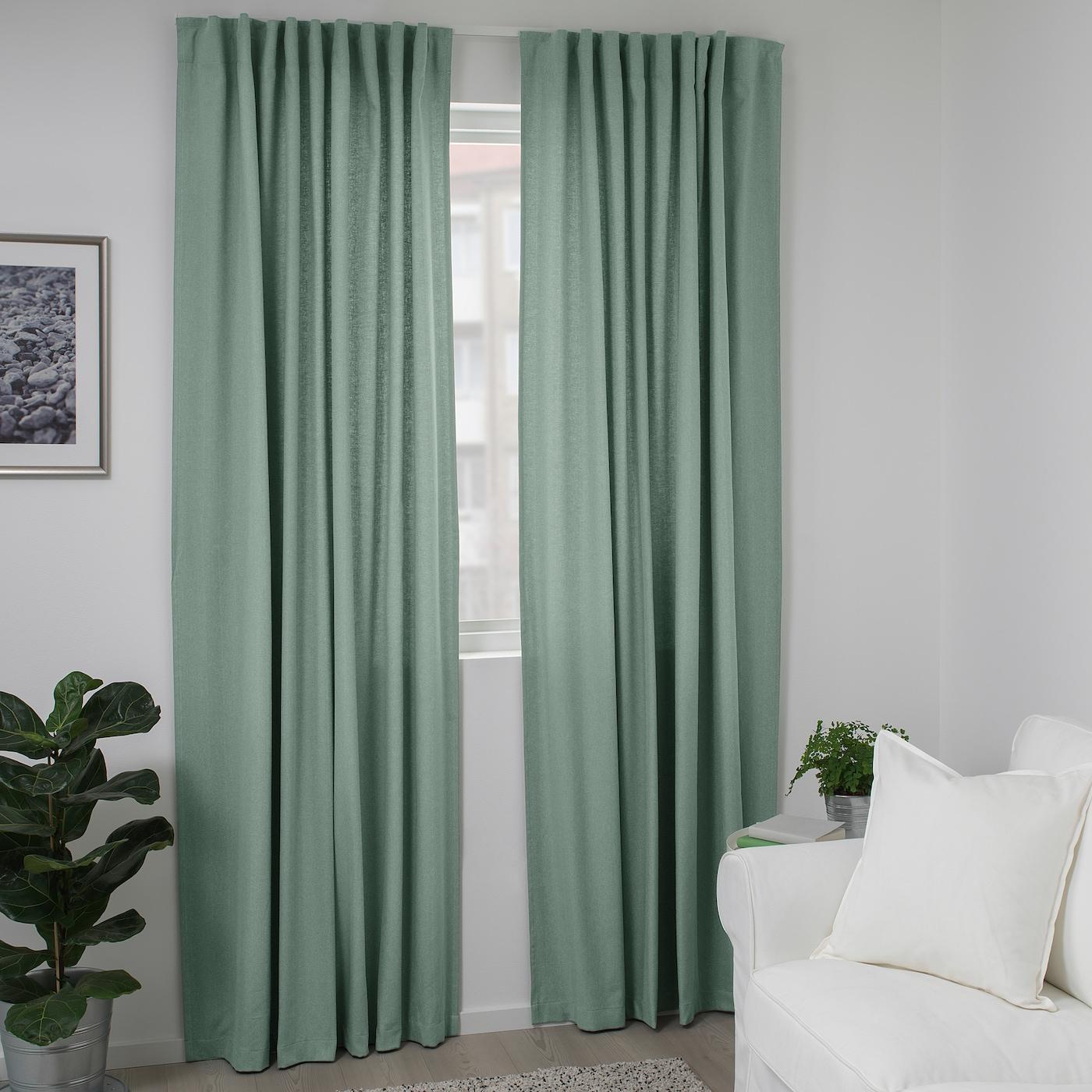 Tibast Curtains 1 Pair Green 145x250 Cm Ikea