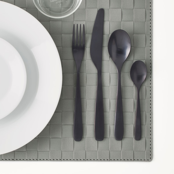 TILLAGD 24-piece cutlery set black