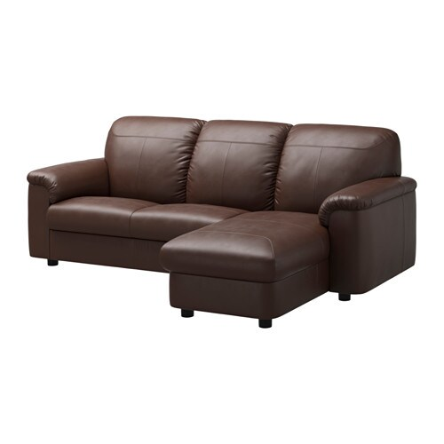 Timsfors two seat sofa with chaise longue mjuk kimstad for Brown chaise longue
