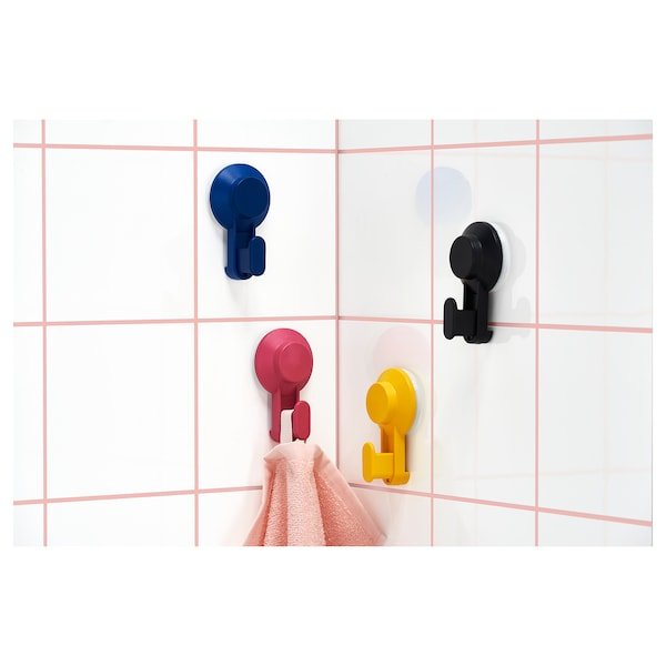 TISKEN hook with suction cup mixed colours 10 cm 6 cm 4 cm 3 kg 4 pack