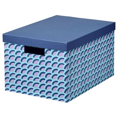TJENA Storage box with lid, blue/multicolour, 25x35x20 cm