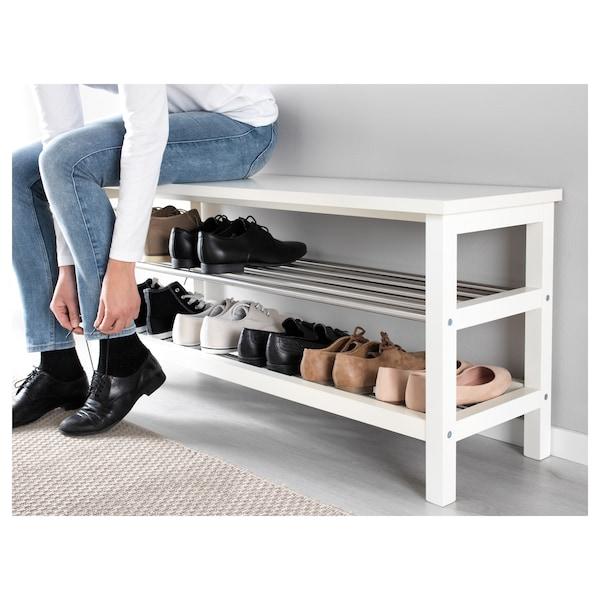 TJUSIG Bench with shoe storage, white, 108x50 cm
