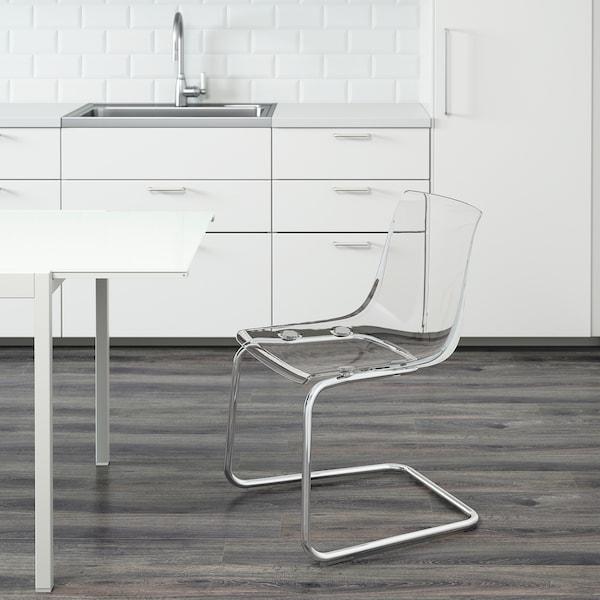 TOBIAS Chair, transparent/chrome-plated