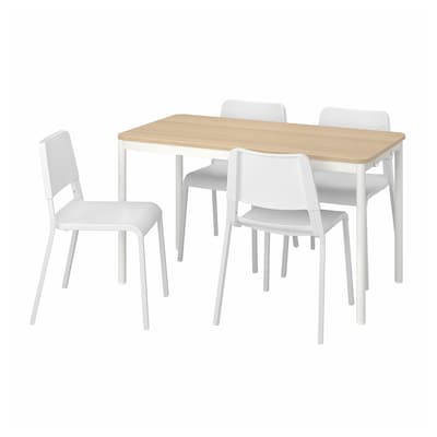 TOMMARYD / TEODORES Table and 4 chairs, oak white/white, 130x70 cm