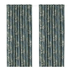 TORGERD room darkening curtains, 1 pair, blue, green