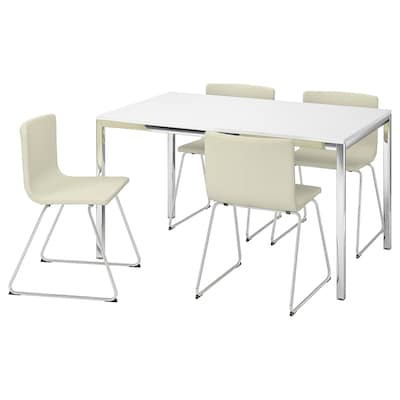 TORSBY / BERNHARD table and 4 chairs high-gloss white/Kavat white 135 cm 85 cm 73 cm
