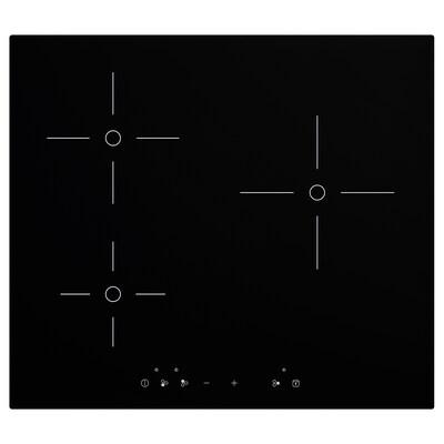 TREVLIG Induction hob, black, 58 cm
