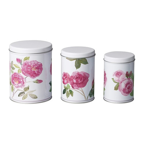 TRIPP Tin with lid, set of 3 IKEA Suitable for coffee, tea and other groceries.  Space-saving; small sizes can be stacked into bigger sizes.