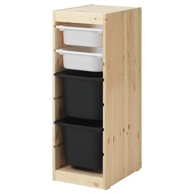 TROFAST Storage combination with boxes, light white stained pine white/black, 32x44x91 cm