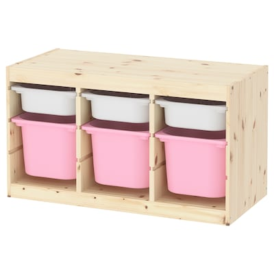 TROFAST Storage combination with boxes, light white stained pine white/pink, 94x44x53 cm