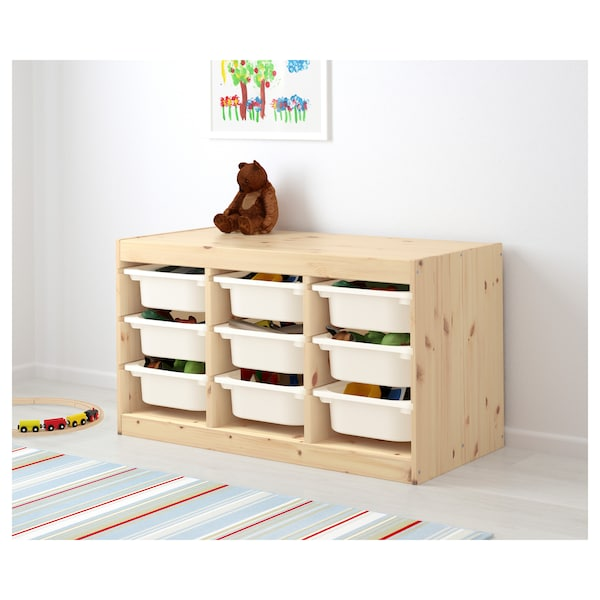TROFAST Storage combination with boxes, light white stained pine/white, 94x44x53 cm
