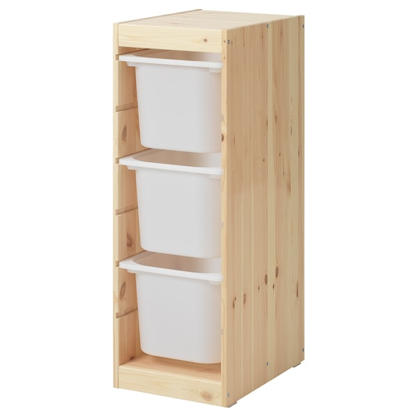 TROFAST Storage combination with boxes, light white stained pine/white, 44x32x91 cm