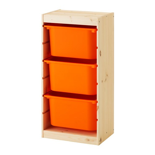 Trofast Storage Combination With Boxes Light White Stained Pine Orange