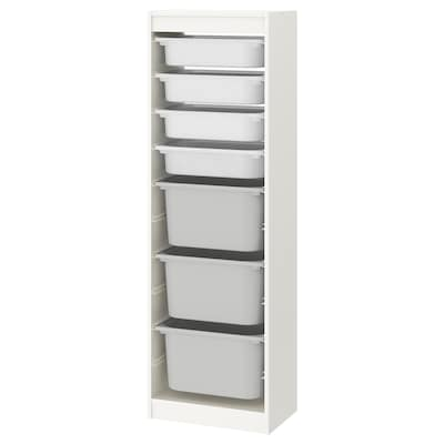 TROFAST Storage combination with boxes, white/white grey, 46x146 cm