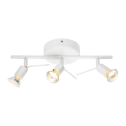 TROSS Ceiling track, 3-spots IKEA You can easily direct the light where you want it because the spots are adjustable.
