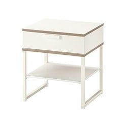 TRYSIL bedside table, white, light grey