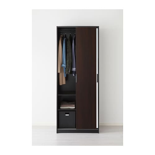 TRYSIL Wardrobe Dark Brownmirror Glass IKEA - Ikea wardrobe