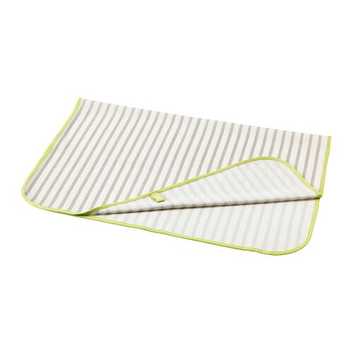 TUTIG Babycare mat IKEA With waterproof backing.  Easy to keep clean: machine washable.  Easy to fold and store away.