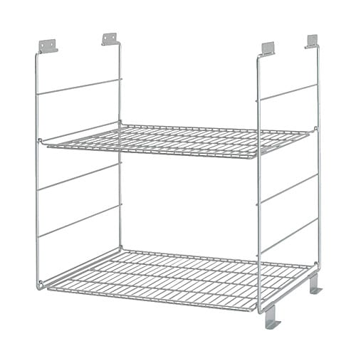 UDDEN Wire shelf IKEA 2 adjustable shelves; adapt spacing to your own storage needs.