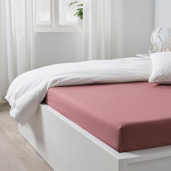 ULLVIDE Flat sheet, dark pink, Double/Queen