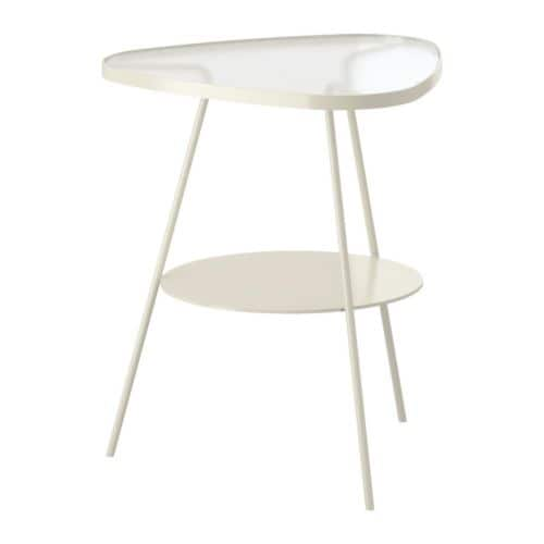 ULSBERG Bedside table - white/frosted glass - IKEA