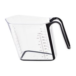 UPPENBAR measuring jug, transparent, black