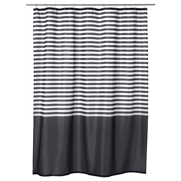 VADSJÖN Shower curtain, dark grey, 180x200 cm