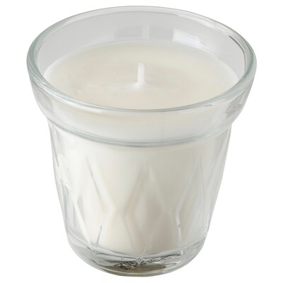 VÄLDOFT Scented candle in glass, flower/clear glass, 8 cm