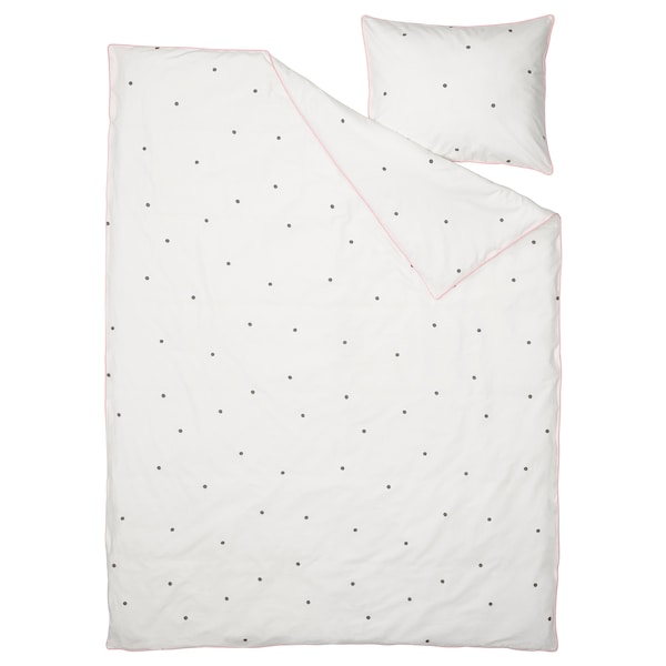 VÄNKRETS Duvet cover and pillowcase, dot pattern white/pink, 150x200/50x80 cm