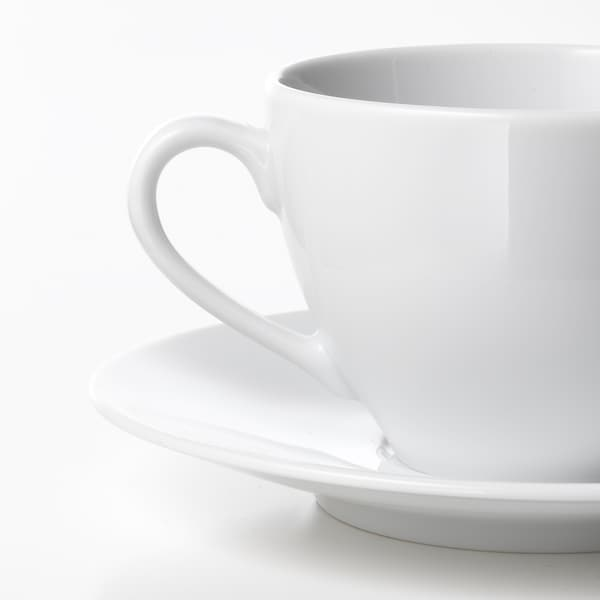 VÄRDERA Coffee cup and saucer, white - IKEA