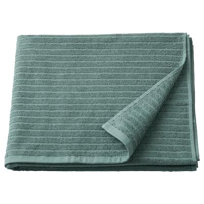 VÅGSJÖN Bath towel, grey-turquoise, 70x140 cm