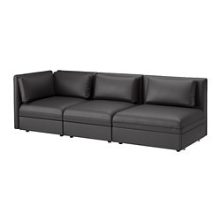VALLENTUNA 3-seat modular sofa with sofa-bed, with open end, Murum black