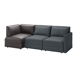 VALLENTUNA 3-seat modular sofa, with storage, Hillared/Murum dark grey/black