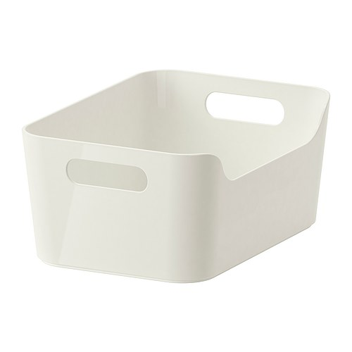 VARIERA Box IKEA The box is easy to carry and take in and out of a drawer or shelf since it has two cut-out handles that make it comfortable to grip.