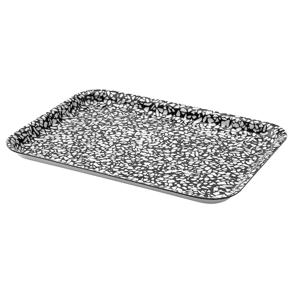 VÅRKUL Tray, black/patterned, 28x20 cm