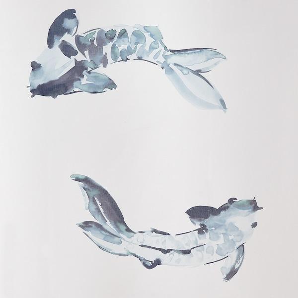 VATTENSJÖN Shower curtain, white blue/fish, 180x200 cm