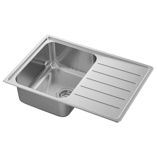 VATTUDALEN inset sink, 1 bowl with drainboard stainless steel 18 cm 33 cm 40 cm 45 cm 67 cm 47 cm 69 cm 69 cm 47 cm 23.0 l