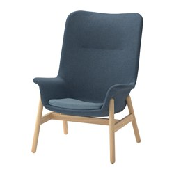 VEDBO high-back armchair, Gunnared blue