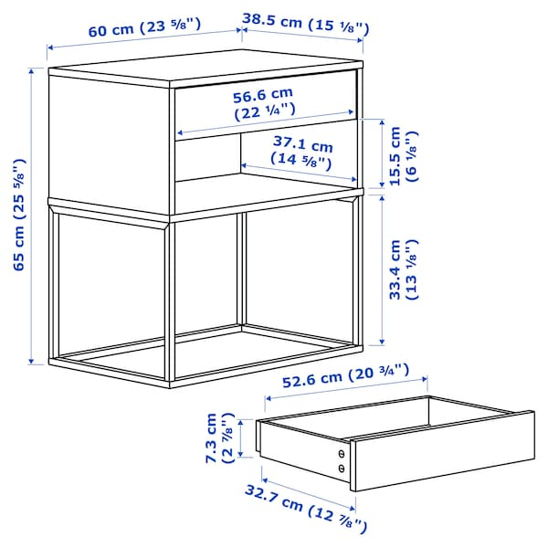 VIKHAMMER Bedside table, black, 60x39 cm