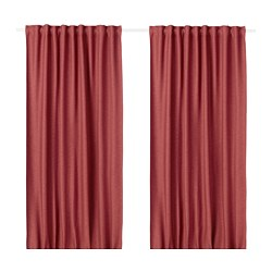 VILBORG room darkening curtains, 1 pair, red