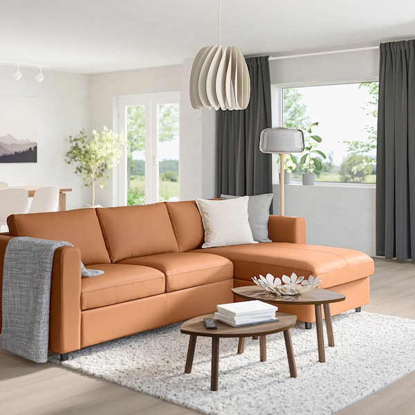 VIMLE 3-seat sofa, with chaise longue/Grann/Bomstad golden-brown