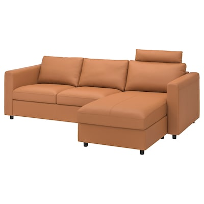 VIMLE 3-seat sofa, with chaise longue with headrest/Grann/Bomstad golden-brown