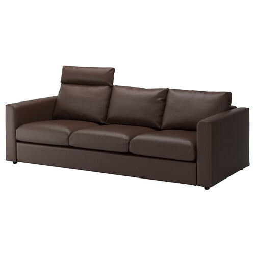 VIMLE 3-seat sofa with headrest/Farsta dark brown 100 cm 80 cm 241 cm 98 cm 4 cm 15 cm 65 cm 211 cm 55 cm 45 cm
