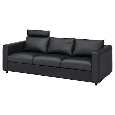 VIMLE 3-seat sofa, with headrest/Grann/Bomstad black