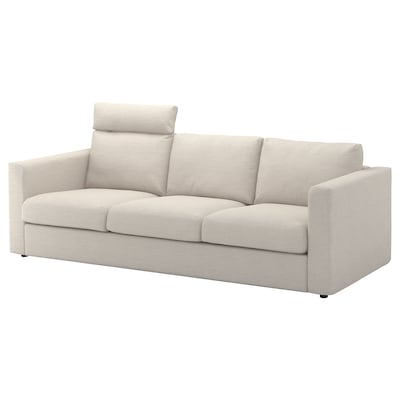 VIMLE 3-seat sofa, with headrest/Gunnared beige
