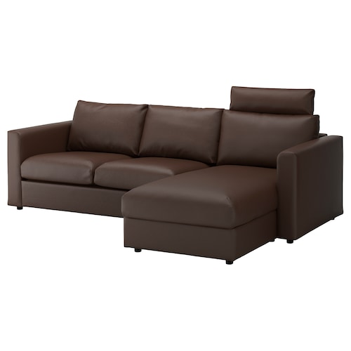 VIMLE 3-seat sofa with chaise longue with headrest/Farsta dark brown 100 cm 80 cm 164 cm 252 cm 98 cm 125 cm 4 cm 15 cm 65 cm 222 cm 55 cm 45 cm
