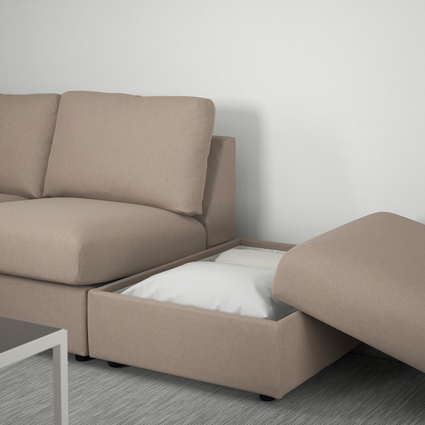 VIMLE Corner sofa, 3-seat, with open end/Tallmyra beige