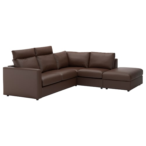 VIMLE corner sofa, 4-seat with open end with headrests/Farsta dark brown 100 cm 80 cm 98 cm 235 cm 195 cm 192 cm 249 cm 4 cm 15 cm 65 cm 55 cm 45 cm